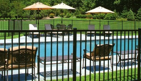 Four foot tall Eastern Ornamental Aluminum Style EO40V two rail BOCA Pool Code Compliant Pool Fence