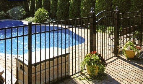 Eastern  Aluminum Fence 54 inch BOCA Pool Code Compliant Eastern Ornamental Aluminum Style EO54202 shown with accent gate and available 4x4 gate posts