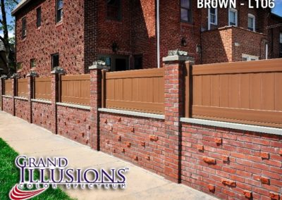 A custom height V300 T&G privacy panel in L106 Brown by Grand Illusions