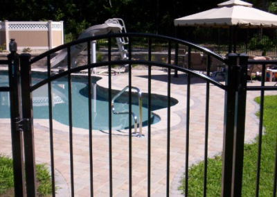 A 48 inch wide Starling style arched top gate. Most people choose an arched top gate for the main entry to their pool enclosure. While 4 foot wide is most common, we stock arched top gates in 36 and 60 inch widths as well. OnGuard manufacturers single leaf gates in widths of up to 6 feet. Remember - all of our inventory is black only.