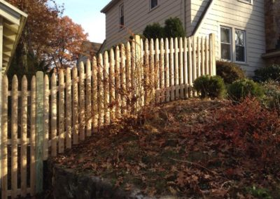 This is CPS 344 and it is the most economical Cedar picket fence we offer. Sold only in 4 foot tall, the Cedar pickets are 'moulded' - they have a rounded face like a stockade fence.