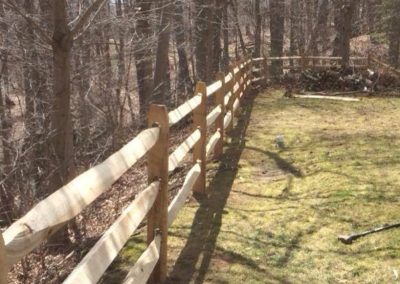 This is a 3 rail Locust post and assorted hard wood rail fence can also be ordered in 2 and 4 rail versions. Other styles of post and rail are Cedar diamond or round rail. Round rails can be dowled ends insted of the typical paddle end.