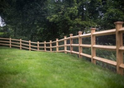 Cedar post and rail with diamond shaped rails (ends are dowled) is sold with 5x5 posts and is offered in 2 or 3 rail versions. Matching gates are also available.