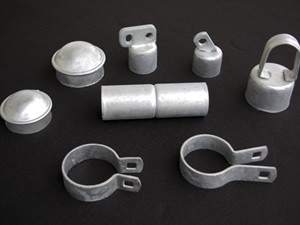 Galvanized chain link fence fittings are most common on commercial installations.
