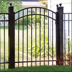 Eastern Ornamental Aluminum fence EO4202 Accent gate shown with 4x4 posts and ball caps.