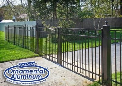 Eastern Aluminum fence straight top double drive gates are available in different widths.