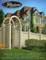 The full line of Illusions Vinyl fence styles available in all heights and your choice of the Illusions Classic colors, Grand illusions Color Spectrum colors or Grand Illusions or the Grand Illusions WoodBond wood grain vinyl fence.