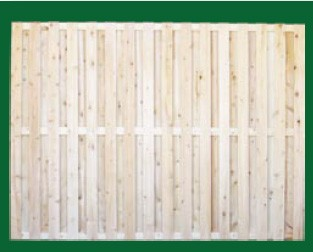 Eastern White Cedar Board On Board Fence with a closed top is available in 3, 4, 5, 6 and 8 foot heights.