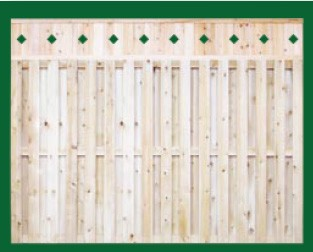Eastern White Cedar Board On Board Fence with a closed top shown here with a diamond topper and is available in 4, 5, 6 and 8 foot heights.