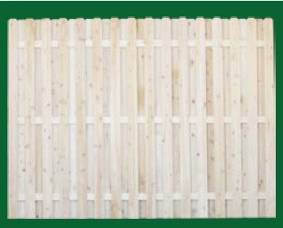 Eastern White Cedar Board On Board Fence with an open top shown her with a style 5 (Dog ear) picket is available in 3, 4, 5, 6 and 8 foot heights.