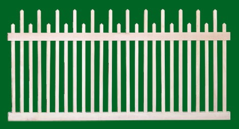 Classic Victorian Cedar picket fence panel with 2 rails and staggered pickets