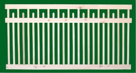 Classic Victorian Cedar picket fence panel with top rail and pointed pickets between the mid and top rail that alternate with full length picksts