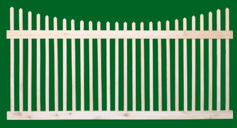 Classic Victorian Cedar picket fence panel with 2 rails and scalloped picket top.