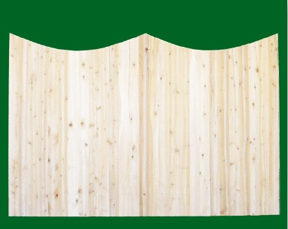 Eastern White Cedar Solid Shaped Privacy Fence panel - Double Concave - with picket cut to the double concave.