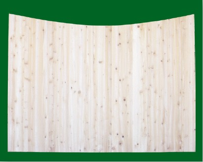 Eastern White Cedar Solid Shaped Privacy Fence panel -Concave -  with pickets cut to the concave.