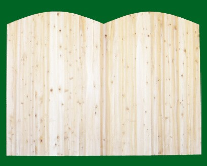 Eastern White Cedar Solid Shaped Privacy Fence panel - Double Convex -  with picket cut to the double convex