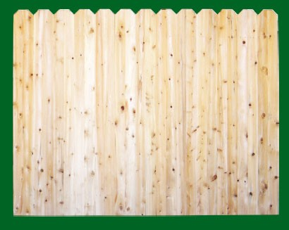 Eastern White Cedar with Dog Ear style pickets top. NOTE: These pickets are actually two pieces of 1x4 that are not joined together - this panel should be used where the grade is flat or in a 'stepped' installation!