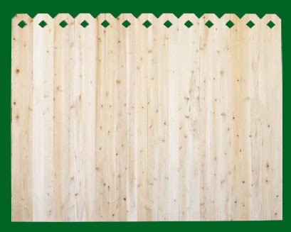 Eastern White Cedar with Diamonds cut into Dog Ear style pickets top. NOTE: These pickets are actually two pieces of 1x4 that are not joined together - this panel should be used where the grade is flat or in a 'stepped' installation!