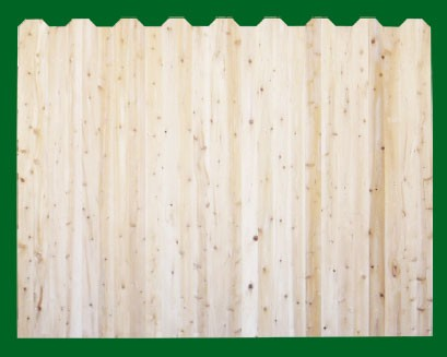 Eastern White Cedar with alternating Dog Ear style pickets top. NOTE: These pickets are actually two pieces of 1x4 that are not joined together - this panel should be used where the grade is flat or in a 'stepped' installation!