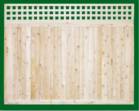 Eastern White Cedar one piece T&G Cedar privacy panels with square lattice topper. Topper is an add on and is attached on site