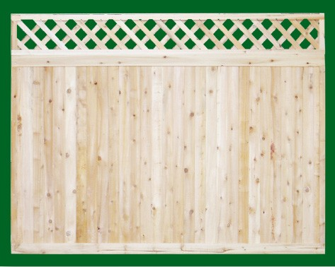 Eastern White Cedar one piece T&G Cedar privacy panels with diagonal lattice topper. Topper is an add on and is attached on site