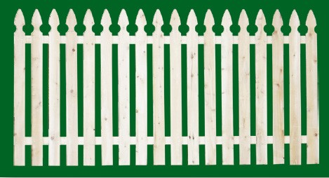 Eastern White Cedar Picket Fence panel with a number 2 shaped picket