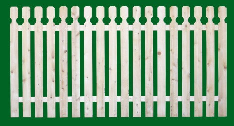 Eastern White Cedar Picket Fence panel with a number 10 shaped picket