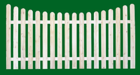 Eastern White Cedar Picket Fence panel with a number 11 shaped picket and scalloped top.