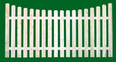 Eastern White Cedar Picket Fence panel with a number 5 shaped picket and scalloped top