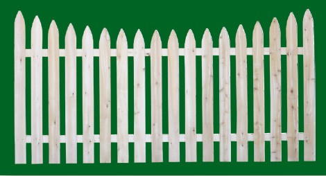 Eastern White Cedar Picket Fence panel with a number 3 shaped picket and scalloped top