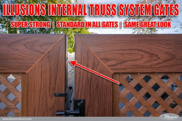 All Illusions Vinyl gates have welded corners and are truss rod strengthened to protect your investment.