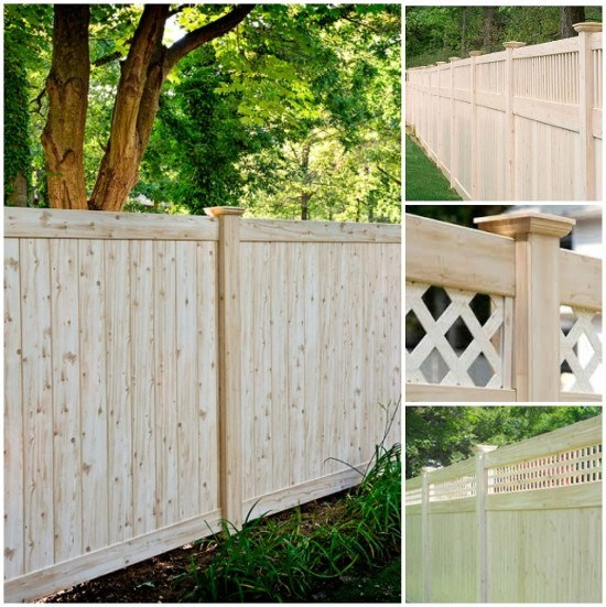 WoodBond Cedar Wood Grain finish vinyl fence by Grand Illusions