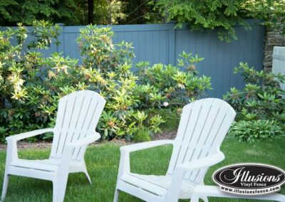 Vinyl Privacy fence V300 by illusions. Federal Blue E102 finish by Grand Illusions
