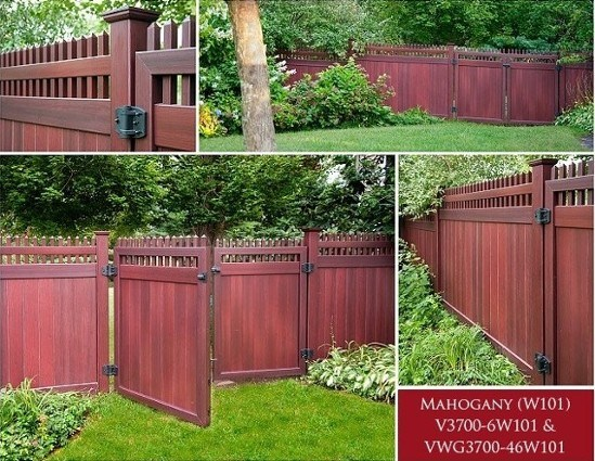 Grand Illusions Vinyl fence Mahogany WoodBond wood grain finish