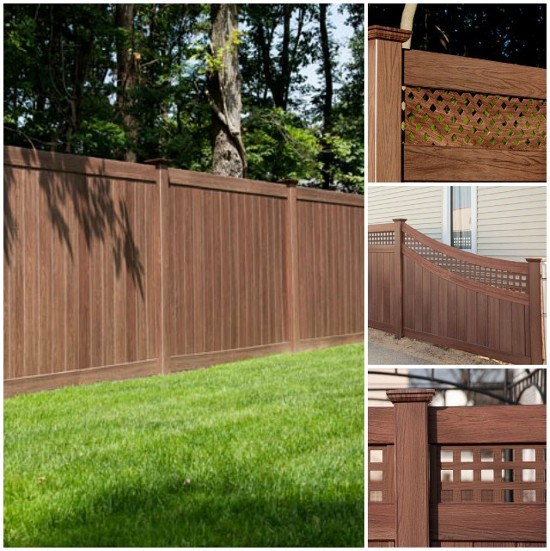 Grand Illusions Vinyl Fence WoodBond Walnut wood grain vinyl finish