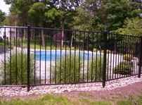 OnGuard Aluminum Pool Fence Heron Style is a 2 rai, forty eight inch BOCA Code Compliant pool fence.