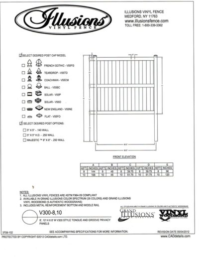 Illusions Vinyl fence style V300 is shown here with a Illusions Vinyl Fence style V300 which comes in all heights up to 6 feet tall (mid rail is standard on panels over 6 feet) - our most popular vinyl fence section. All Illusions fence styles, this panel can be ordered in any of the exciting Grand Illusions color or wood grain finish with a gate to match.