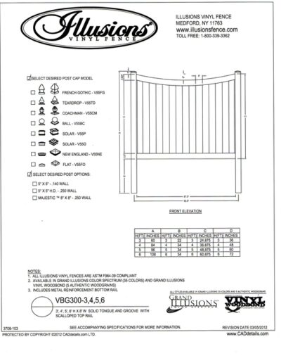 Seen in this image - Illusions Vinyl fence style VBG 300 a T&G privacy panel with scalloped top rail. This panel is available in Classic White Beige and Gray or any of the amazing Grand Illusions Colors or wood grain finishes.