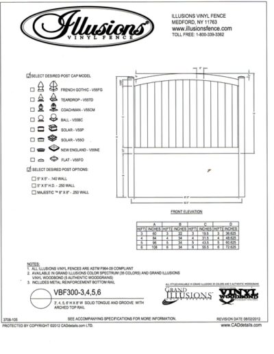 This is an Illusions Vinyl fence style VBF 300 a T&G privacy panel with crowned top rail. This panel is available in Classic White Beige and Gray or any of the beautiful Grand Illusions Colors or wood grain finishes.