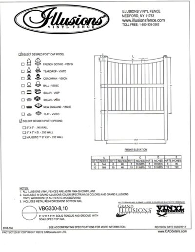 Illusions Vinyl Fence style VBG - T&G Privacy panel with scalloped top rail whih is available in all heights. The Mid Rail is on panels over 6 feet tall.