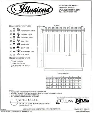 Seen here is an Illusions Vinyl Fence style V3700 a tongue and groove privacy panel has a Open Straight Victorian picket top. It can be ordered with matching gates in all heights, colors and any of the amazing wood grain finishes. All heights are available in the Classic Series colors of as well which are white, beige and gray.