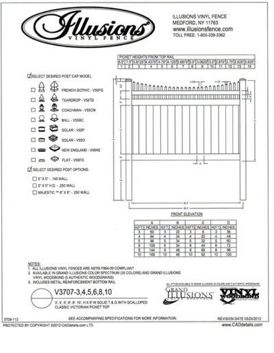 This image shows Illusions Vinyl Fence style V3707 a T&G privacy panel with Scalloped Victorian picket top - a very popular choice. You can order this style and matching gates in all heights, colors and amazing wood grain finishes. All heights are available in the Classic Series colors of White, Beige and Gray.