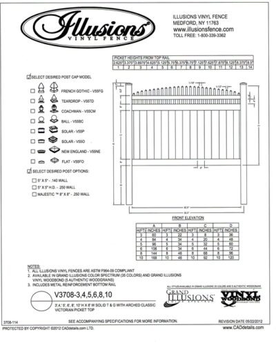 This image shows Illusions Vinyl Fence style V3708 a T&G privacy panel with Crowned Victorian picket top. You can order this style and matching gates  in all heights, colors and amazing wood grain finishes. Classic Series White, Beige and Gray are available too.
