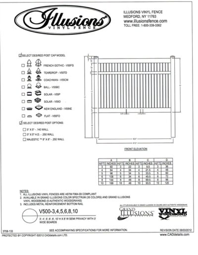 V500 Style by Illusions Vinyl Fence is a Semi Privacy panel wit 3 inch wide boards that have 1/2 inch spacing between. Available in all heights, colors and matching gates.