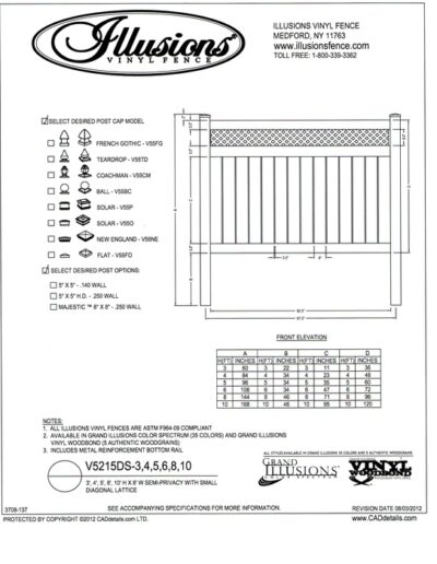 Illusions Vinyl Fence style V5215DS has 6 inch wide boards in the base with 1/2 inch spacing between and a small diagonal lattice top. Available in Classic, Grand Illusions or WoodBond Series in all heights.