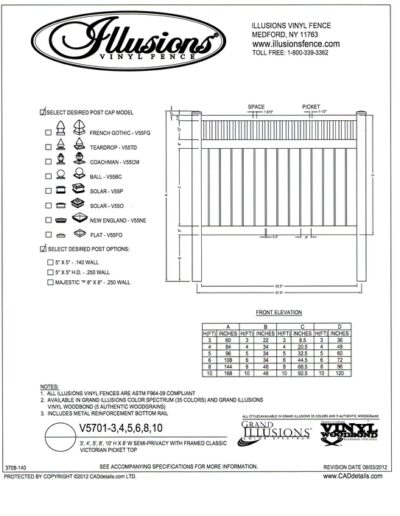 V5701 Style by Illusions Vinyl Fence has a Framed Victorian picket top and 6 inch boards with 1/2 inch spacing between. All Illusions fence styles and heights are available in the amazing Grand Illusions Color or beautiful wood grain finishes. And, of course, matching gates are avaisable as well!