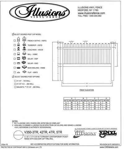 This Illusions Vinyl Fence Contemporary picket with straight top and dog eared cap comes with two rails on heights 3, 42 inch, 4 and 5 foot. Remember - you can get any Classic or Grand illusions color or one of the wood grain finishes.