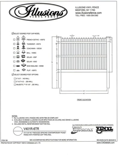This is a 3 rail, 6 foot tall Illusions Reduced spacing Contemporary vinyl picket fence (7/8x3 inch) with straight top and pointed picket cap. Yes - these sections are  available in the Classic, Grand Illusions Color Spectrum ot the WoodBond wood grain finish.