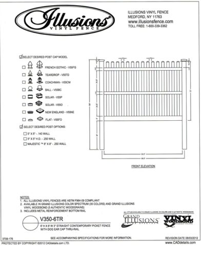 Illusions Vinyl Fence Contemporary picket with straight top and dog eared cap. Three rails are used on 6 foot height.