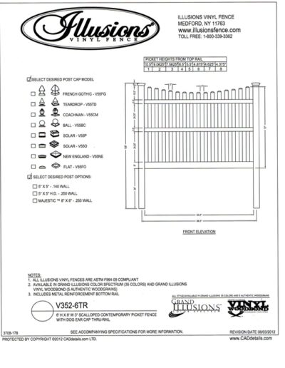 Illusions Vinyl Fence Contemporary picket (7/8x3 inch) with scalloped top and dog eared cap. Three rails are used on 6 foot tall panels.